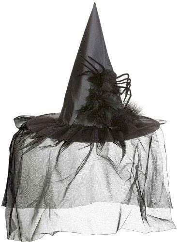 Chapeau de sorcière voilé avec araignée