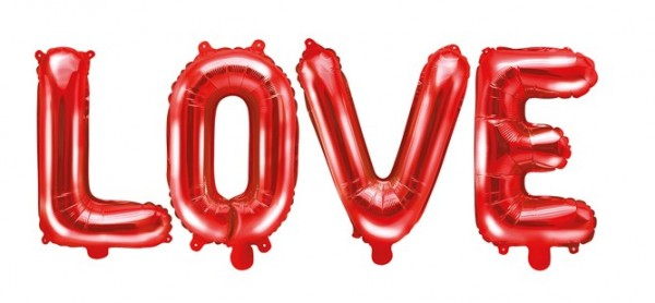 Foil balloon Love red 1.4mx 35cm