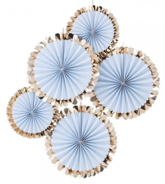 5 blue pastel paper fans with gold rim 38cm