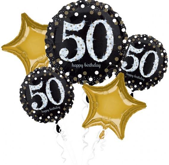 Golden 50th birthday balloon bouquet 5 pieces