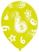 6 bunte Luftballons 6.Geburtstag 27,5 cm
