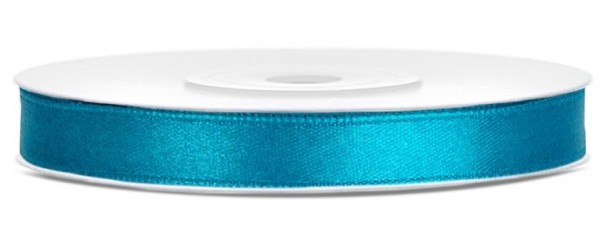 25m satin gift ribbon turquoise 6mm wide
