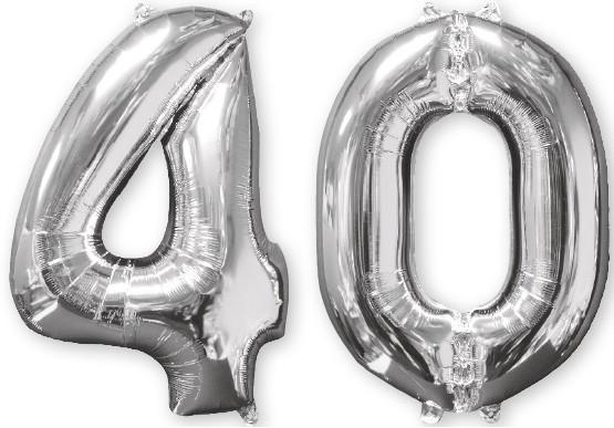 Ballon aluminium numéro 40 argent 66cm