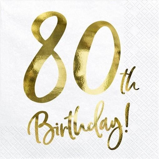 20 Glossy 80th Birthday Servietten 33cm