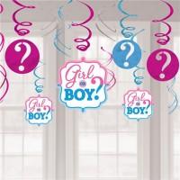 Girl or Boy Babyparty Spiralhänger 12-teilig