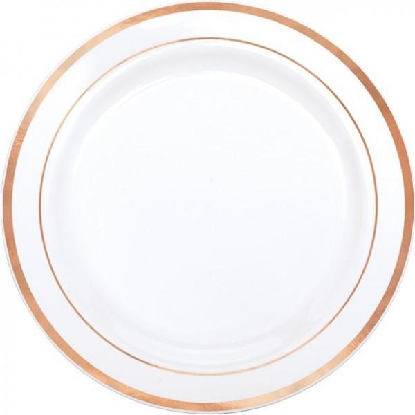 10 plastic plates rose gold rim 26cm