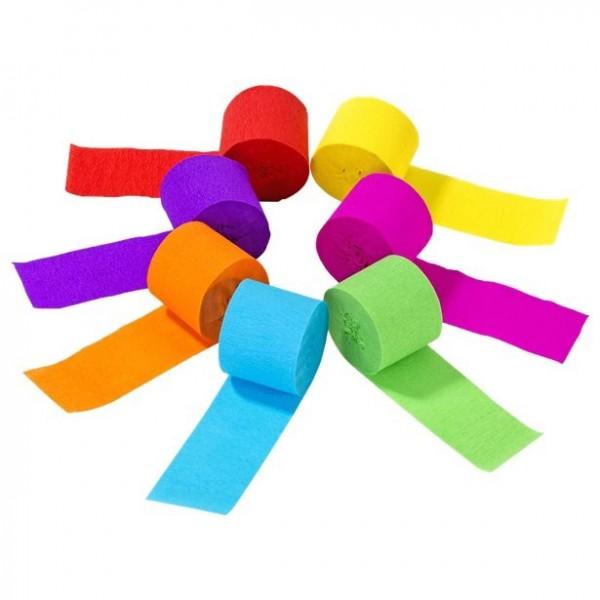 7 bunte Krepp-Papier Rollen 10m