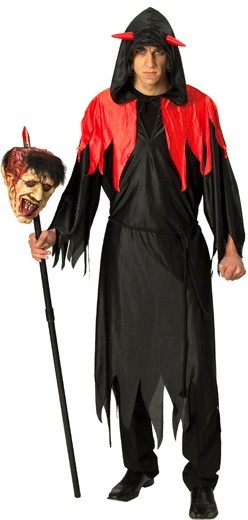 Costume devil devil staff black red hood