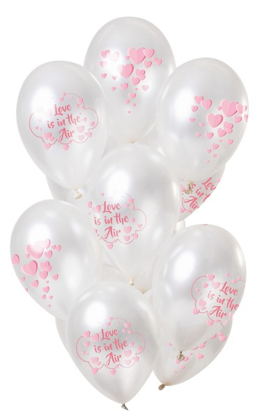 12 Latexballons Love is in the air pink metallic