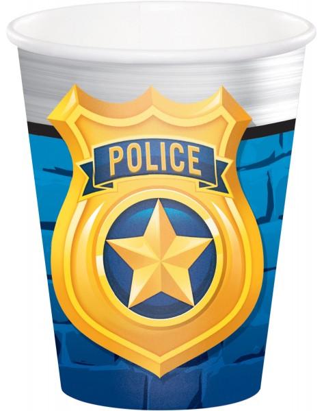 8 Polizei Revier Pappbecher 256ml