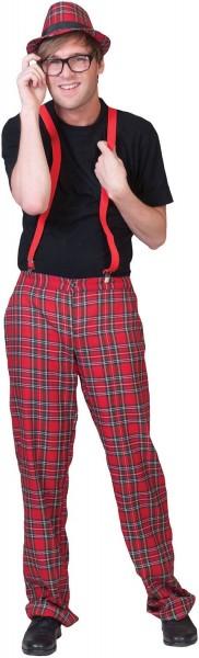 Rode geruite tartan-broek voor heren