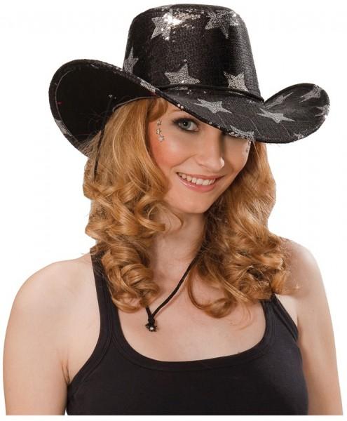Cowgirlhut mit Sternen Schwarz