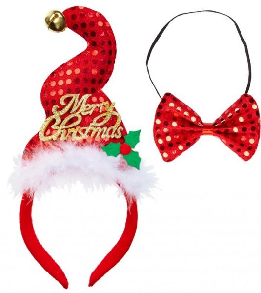 Cappello e papillon di Natale