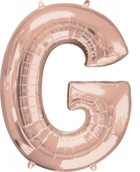 Letter foil balloon G rose gold 81cm