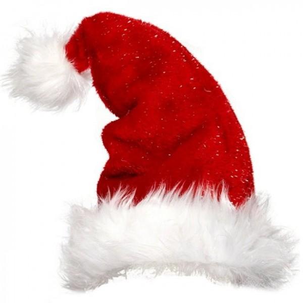 Gorro de felpa con purpurina de Papá Noel