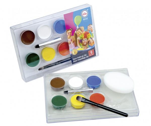 Karneval Wasserfarben Schminkset Fancy Colours 9-Teilig