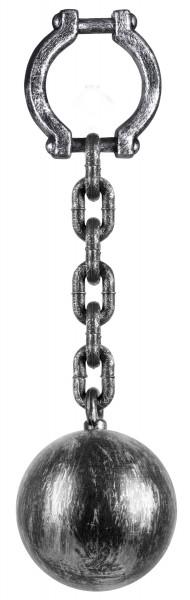 Fußfessel Mit Schwerer Kugel 17cm Silber