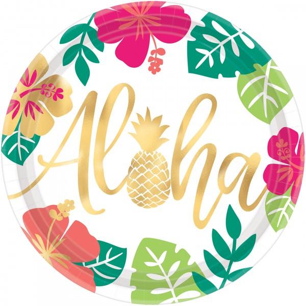 8 platos de papel Aloha Island 26cm