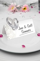 36 Tischkarten Hochzeitsringe