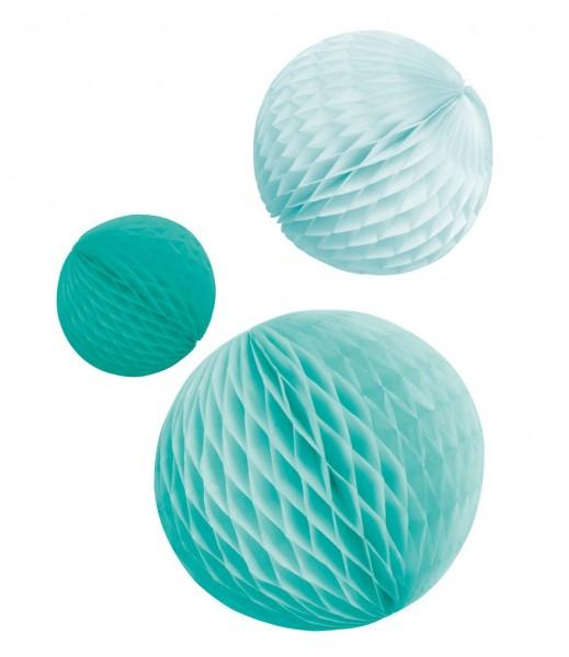 3 Shiny Acqua honeycomb balls