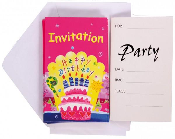 6 Pinkie Birthday Einladungskarten mit Umschlag