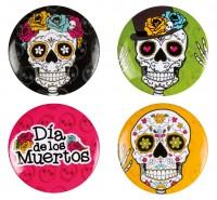 4 Dia De Los Muertos Totenkopf Buttons 3cm