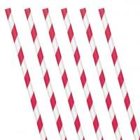 24 rot-weiß gestreifte Papier-Strohhalme