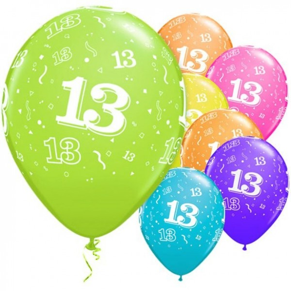 6 Vibrant 13th Birthday Luftballons 28cm