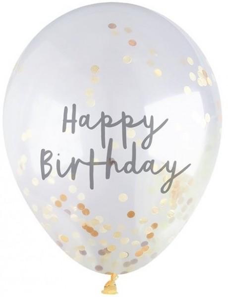5 ballons de confettis or joyeux anniversaire