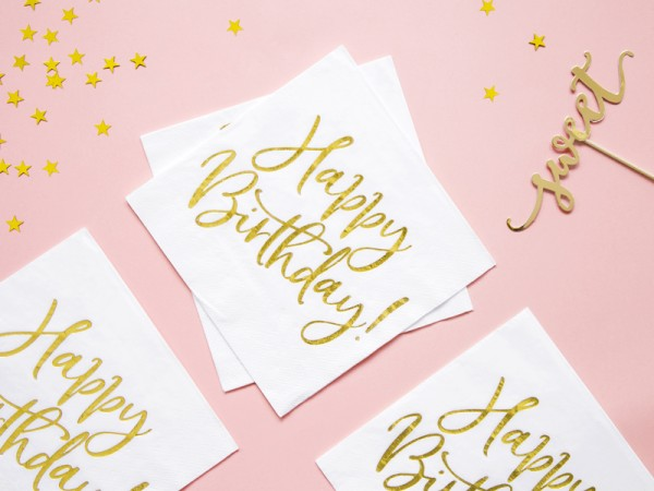 20 Serviettes Glossy Happy Birthday 33cm