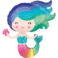 Regenbogen Meerjungfrau Folienballon