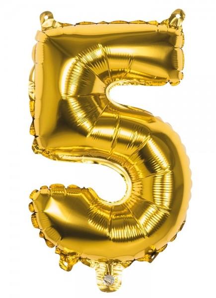 Ballon aluminium numéro 5 or métallisé 36cm