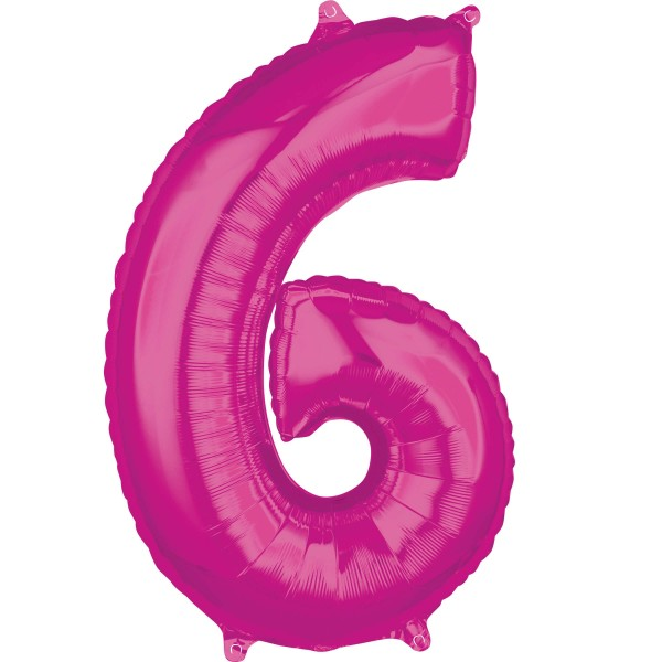 Pink number 6 foil balloon 66cm