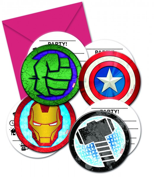 6 cartes d'invitation Avengers Heroes