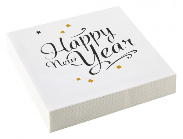 20 serviettes de table Golden New Year Wishes 33cm