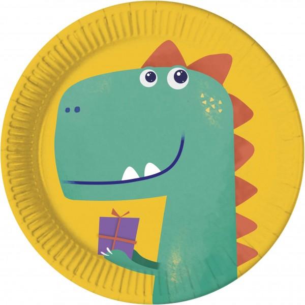 8 assiettes anniversaire Dino compostables 23cm