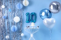 Zahl 0 Folienballon azurblau 35cm