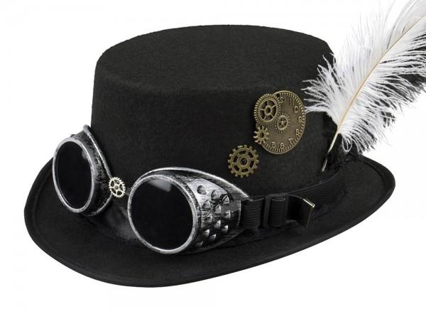 Cilindro steampunk negro con gafas y tocado de plumas
