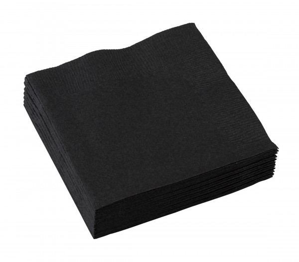 20 Party Napkins Black 25cm