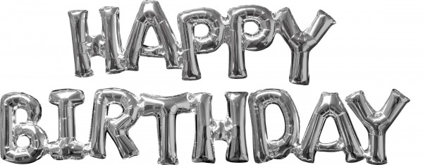 Foil balloons Happy Birthday silver