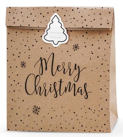 3 sachets cadeaux réveillon de Noël 25 x 27 cm