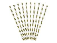 Vorschau: 10 Metallic Stripes Strohhalme gold 19,5cm