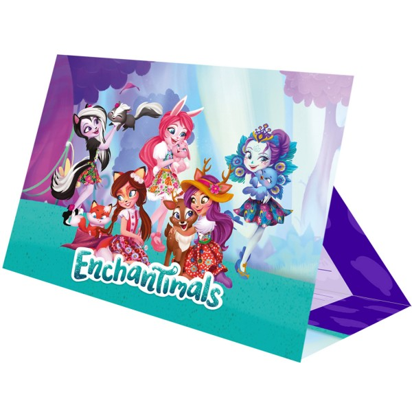 8 Enchantimals Tierliebe Einladungskarten