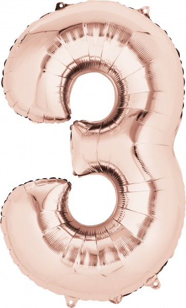 Number balloon 3 rose gold 86 cm