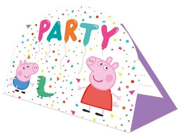 8 cartes d'invitation anniversaire Peppa Pig Rainbow