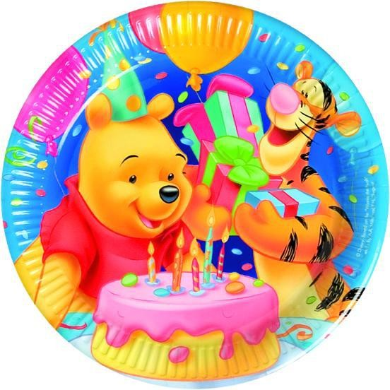 10 Birthday Winnie Puuh Pappteller 23cm