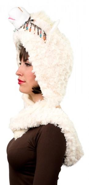 Flauschige Lama Mütze mit Schal