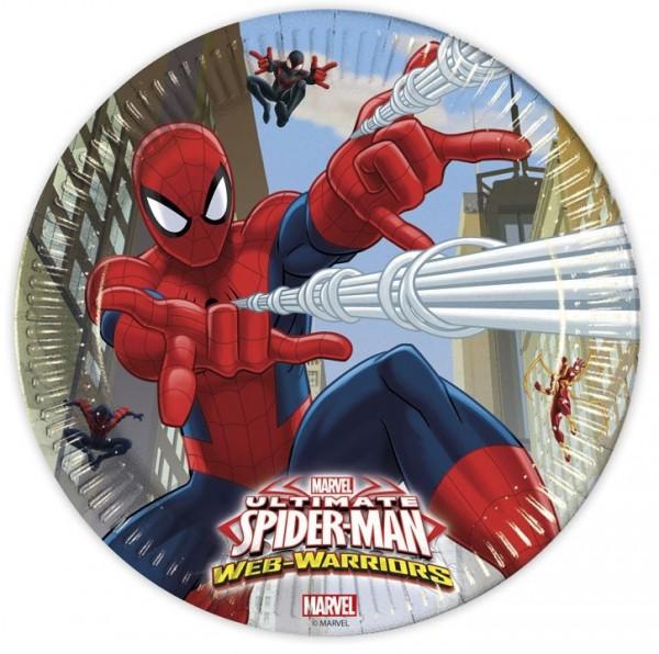 8 Spiderman Web Warriors Pappteller 23cm