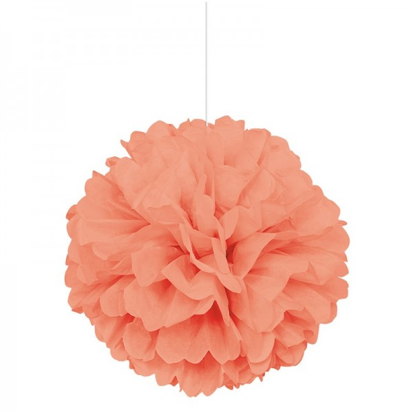 Fluffy pompom decoration coral 40cm