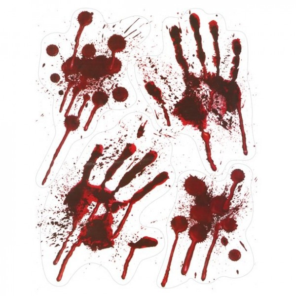 4 blutige Handabdrücke Fensterbilder selbstklebend